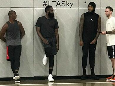 Carmelo Anthony Balling with Chris Paul and James Harden … His Future Teammates?