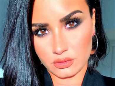 Demi Lovato Flashes Chest Piercing Braless & Unbuttoned