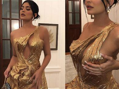 Kylie Jenner Beamed As Golden Goddess At Justin Bieber & Hailey's Wedding
