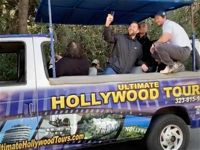 Mark Wahlberg Hops on Hollywood Tour Bus to School Tourists on Tom Brady