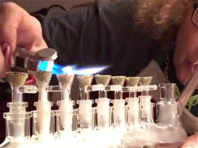 Dabbing Granny Celebrates 8 Crazy Nights of Hanukkah by Ripping Menorah Bong