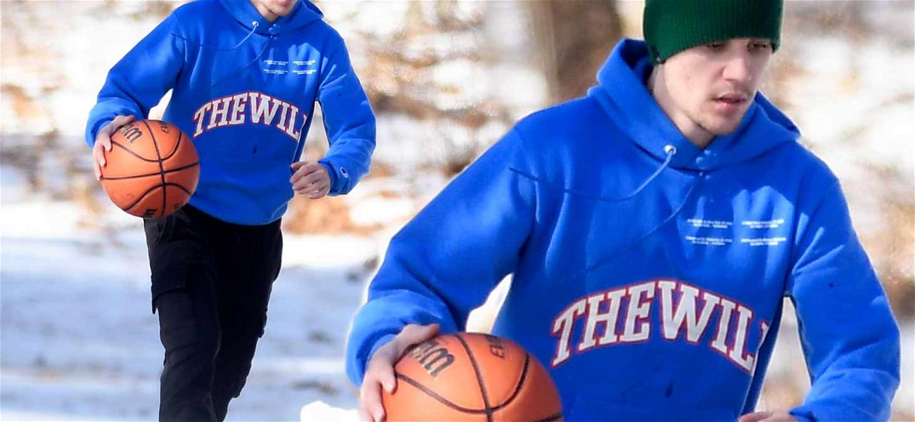 Justin Bieber Kicks Off Valentine's Day With Solo Basketball Session in the Snow