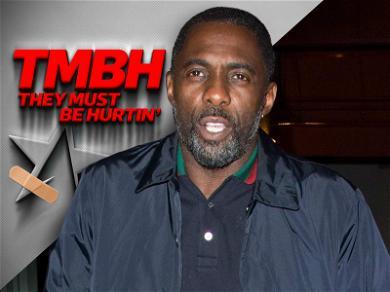 Idris Elba Hops Around London on Busted Leg