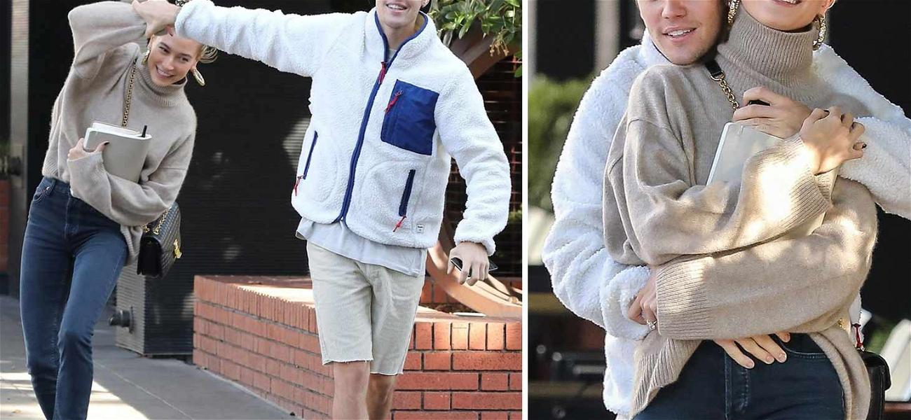 Justin Bieber and Hailey Baldwin Can't Keep Their Hands to Themselves