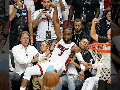 Dwyane Wade Crashed into John Legend & Chrissy Teigen for His Last Game in Miami