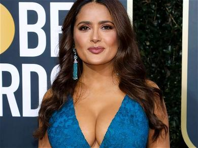 Salma Hayek Needs No Caption In Plunging Swimsuit With Pillow Lips On Show