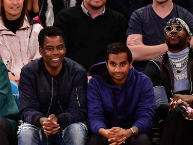 Aziz Ansari Relaxes Courtside With Chris Rock, 2 Chainz and Masters Champ Patrick Reed