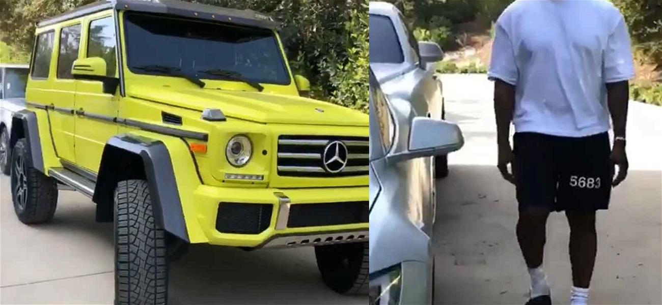Kanye West Slides In to Surprise Kim Kardashian with Neon Green G-Wagen