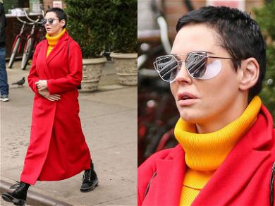 Rose McGowan Dealing with Baggage in NYC