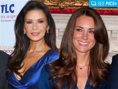 Catherine Zeta-Jones Channels Kate Middleton in Sapphire Dress