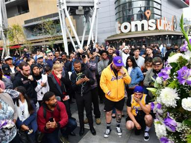 Huge Crowd Gathers At Staple's Center To Pay Tribute To Kobe Bryant
