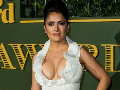Salma Hayek Lies In A Pile Of Carrots In Sheer Dress For 'Eat Your Vegetables' Day