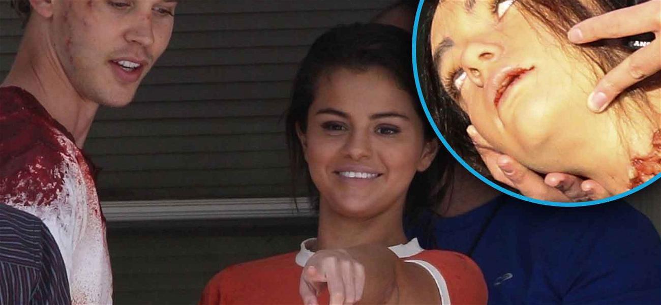 Selena Gomez Loses Her Head on the Set of New Film