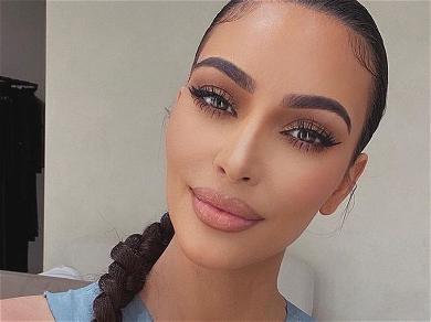 Kim Kardashian Drizzles Her Morning Stack In Waffle Bra