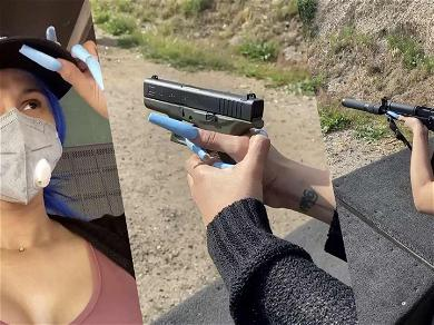 Cardi B Breaks One Of Her Ridiculously Long Blue Nails While At The Shooting Range