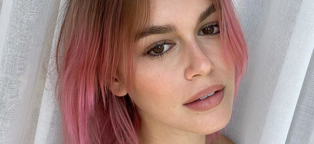 Kaia Gerber Wears Just Skin For Pink Hair Reveal