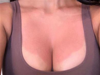 Kim Kardashian Gives Chesty Demo of Her Body Makeup After Sunburn