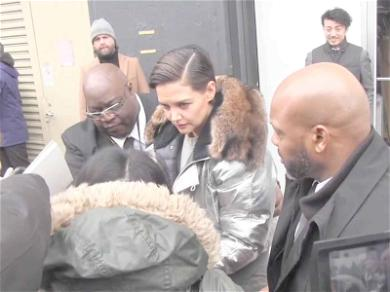 Katie Holmes Gives Aid to Downed Fan During NYFW