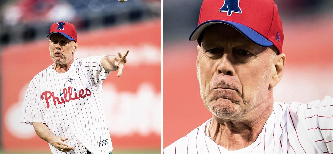 Bruce Willis Bounced the Ball to the Plate at the Phillies Game