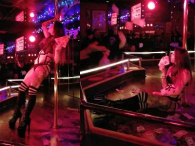 Stripper Rakes in Dough for Eating Pizza Onstage
