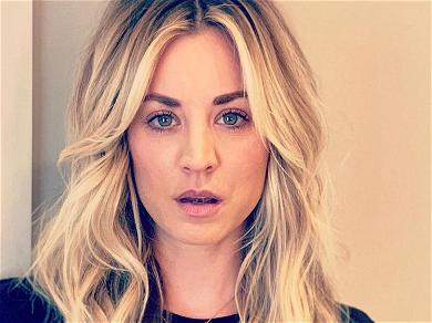 Kaley Cuoco All Chest In Plunging Dress With Straw Everywhere