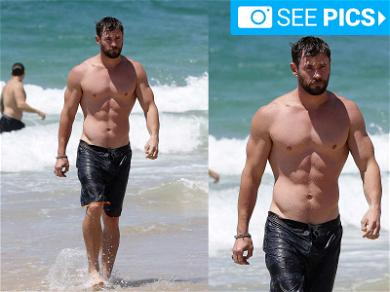 Thor Shows Off His Muscles Down Under
