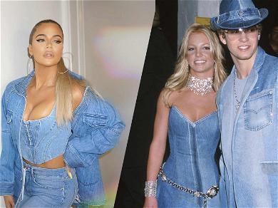 Khloe Kardashian Channels Britney Spears In Busty Denim Outfit