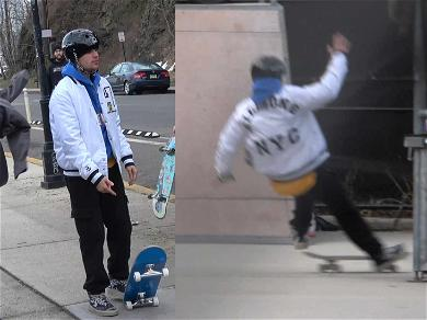 Justin Bieber Takes a Tumble While Skateboarding in New Jersey