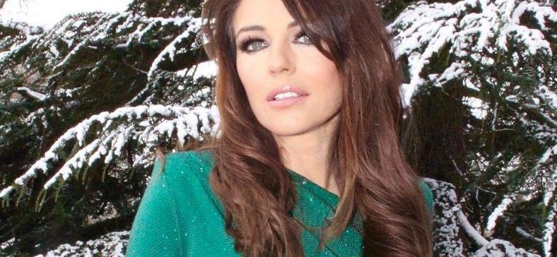 Elizabeth Hurley Caught In Snowstorm With Dress Open