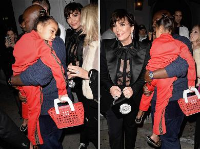 North West Partied Past Her Bedtime With Kris & Kourtney as She's Carried Out Of L.A. Hotspot