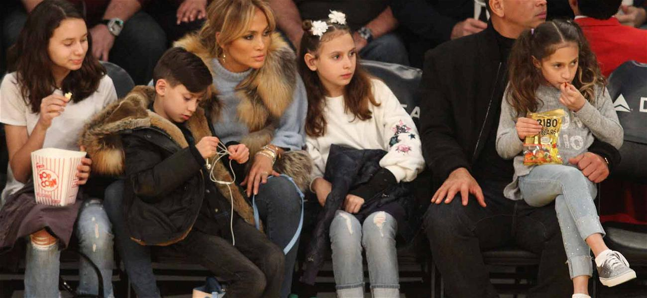 Jennifer Lopez and Alex Rodriguez Have Family Night Out at the Lakers Game