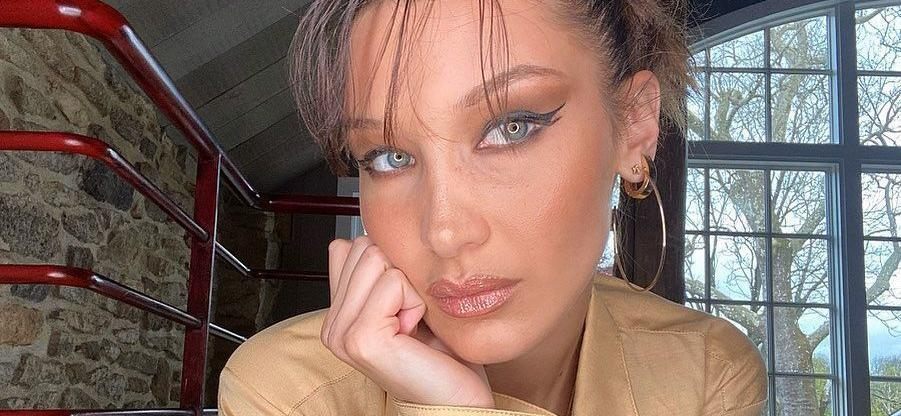 Bella Hadid Wears Only Coffee Scrub With Shower Mountains On Show