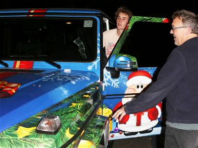 Justin Bieber Shows Off His Mercedes, Christmas Sleigh Edition