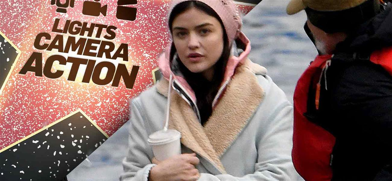 Lucy Hale Bundles Up on the Set of Her New Show
