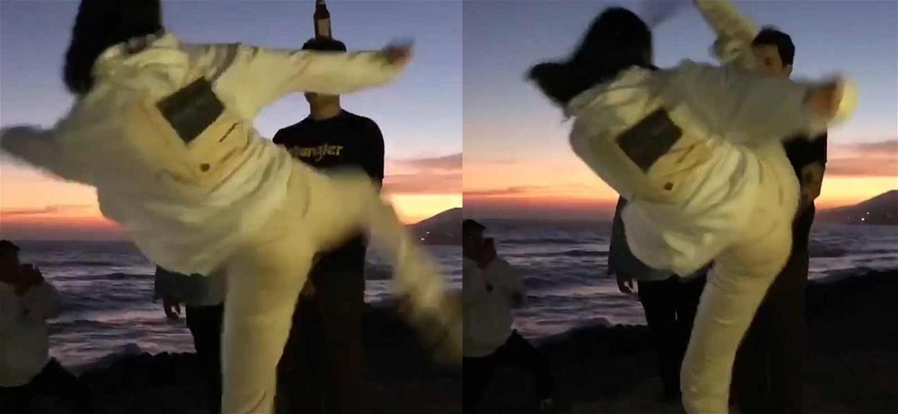 Kendall Jenner Impressively Ninja Kicks Beer Bottle Off Friend's Head