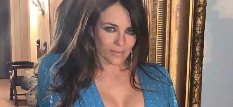 Elizabeth Hurley's Golden Globes Get Unbuttoned Attention By Xmas Tree