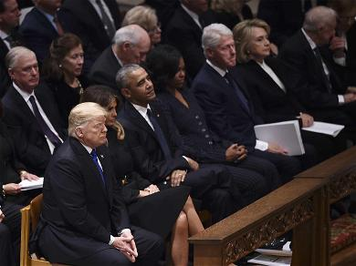 President Trump and Hillary Clinton Avoid Eye Contact During Awkward Meeting at George H.W. Bush Funeral