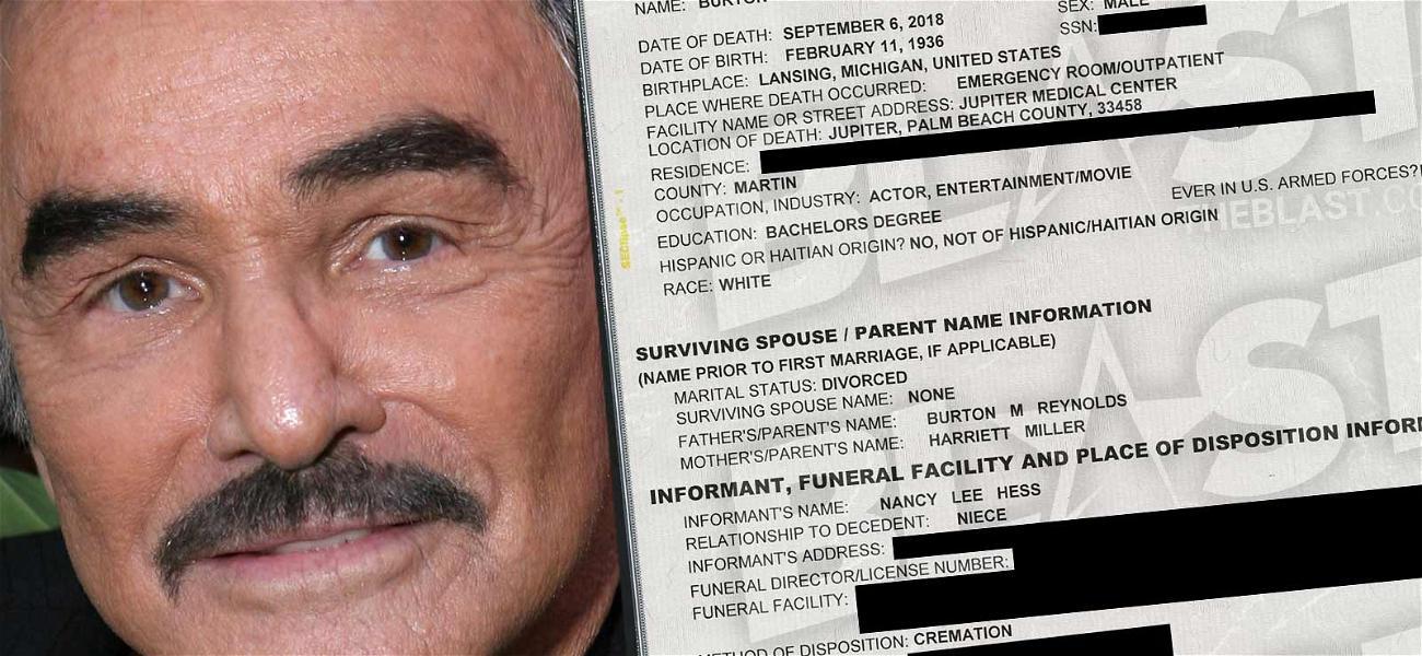 Burt Reynolds Death Certificate Shows Legendary Actor Was Cremated