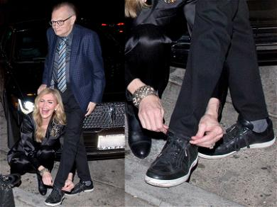 Laces Out! Larry King Gets His Shoes Tied By Wife Shawn