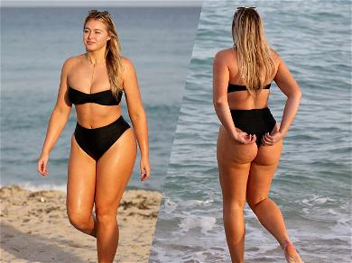 Iskra Lawrence Shows Off Xmas Cakes in Miami