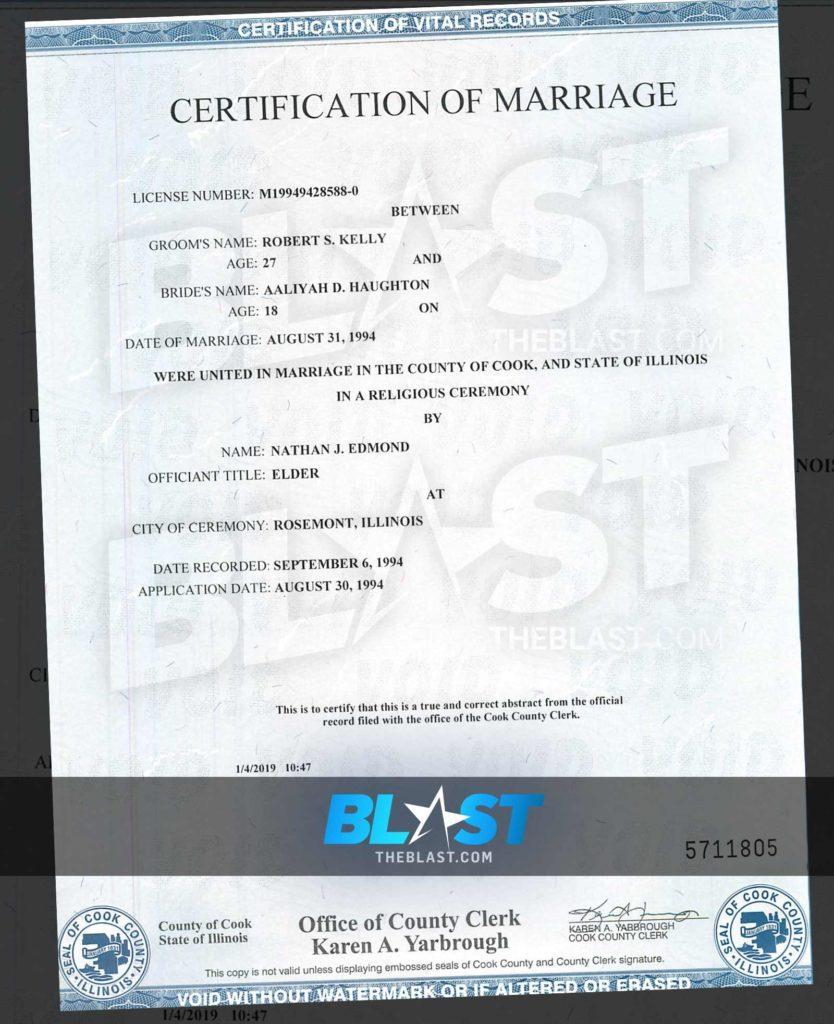 Aaliyah R Kelly Marriage Certificate