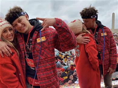Patrick Mahomes & GF Brittany Matthews Brave Frigid Kansas City Weather For Super Bowl Parade