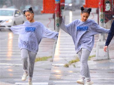 Ariana Grande Looks Carefree & Happy During Rainstorm in New York City
