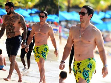 Mark Wahlberg Shows Off Chiseled Chest During Beach Day in Barbados