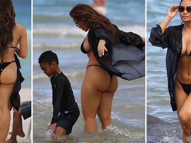50 Cent's Baby Mama Daphne Joy Sizzles During Beach Day With Son
