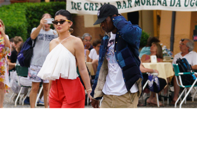 Kylie Jenner Scouts Beauty Ideas With Travis Scott During Stroll In Portofino