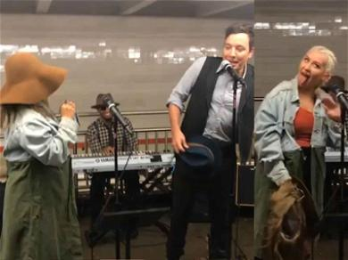 Christina Aguilera Draws Big Crowd During Surprise Subway Performance With Jimmy Fallon