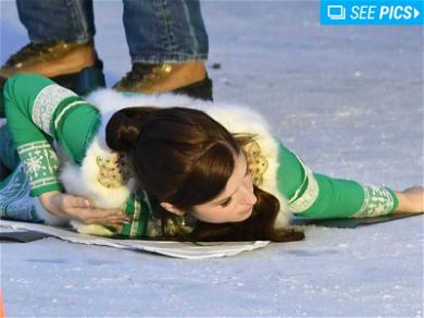 Anna Kendrick Takes a Dive While Filming 'Noelle'