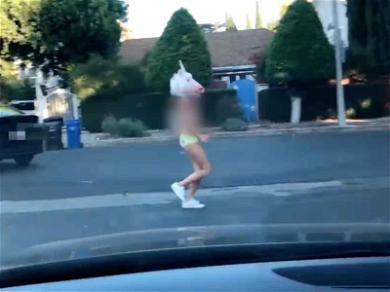 Shay Mitchell Celebrates YouTube Milestone By Running Around Topless in Unicorn Mask