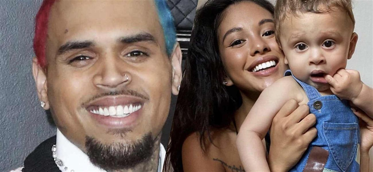 Chris Brown Cuddles Up To Baby Mama & Son In Rare Family Shot